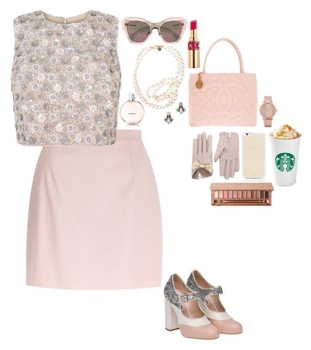 """""""Chanel Oberlin (Scream Queens)"""" by daciejeanne ❤ liked on Polyvore featuring River Island, Miu Miu, Yves Saint Laurent, STELLA McCARTNEY, Chanel, ALDO, Kate Spade, Causse, Ben-Amun and Urban Decay"""