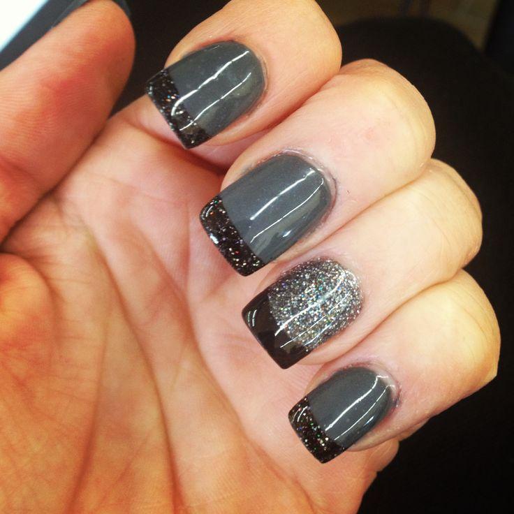 Gray And Black Nail Designs: Gray And Black Nail, Acrylic Nails, By Tina At Tasaris