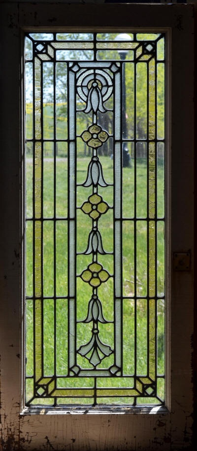 Detail - A pair of Antique American Stained Glass Cabinet Doors in a Bellflower pattern.