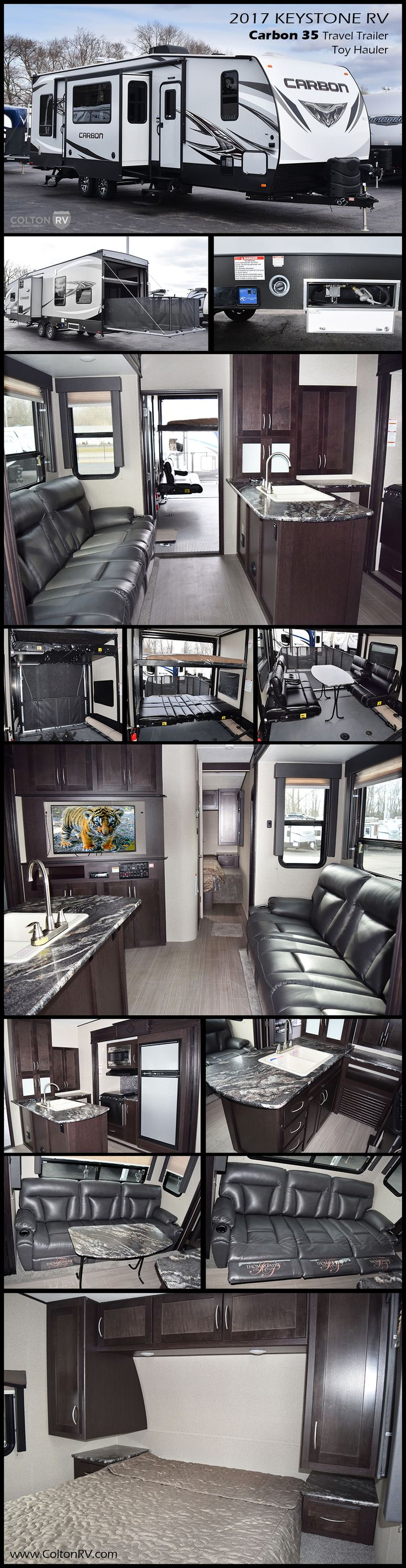 The Carbon 35 Travel Trailer Toy Hauler by Keystone RV has everything a luxury toy hauler offers without the price tag with great high end features at a reasonable price.This model 35 has all the elements one might need for an active weekend away! .