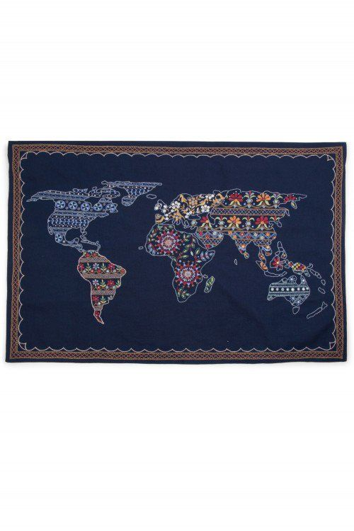 Handmade In India Hand Embroidered Fair Trade Wall Hanging World Map Kathiawad Embroidery Home Decor