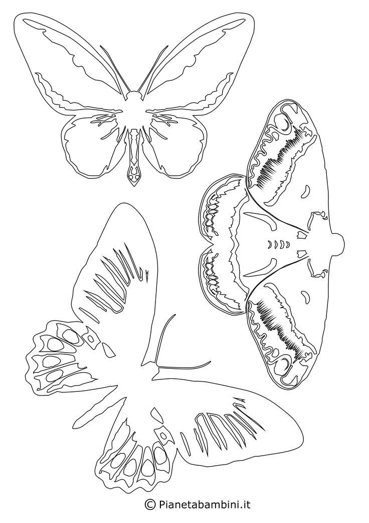 Ben 42 disegni di farfalle per bambini da stampare, colorare e ritagliare e da usare anche per decorazioni; le sagome sono in PDF pronte da scaricare gratis