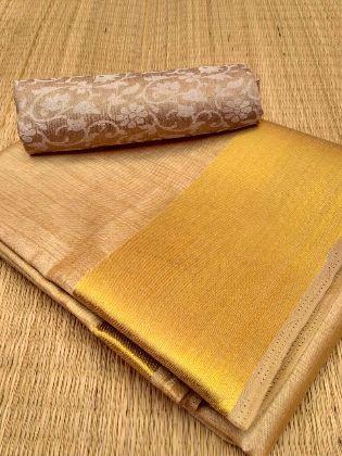 Buy Semi Tussar Silk Saree with Brocade Blouse - Cream 1