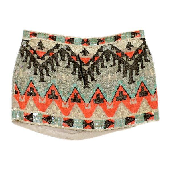 Pre-owned All Saints MultiColor Sequined Aztec Print Mini Skirt (2.830 UYU) ❤ liked on Polyvore featuring skirts, mini skirts, multi color skirt, aztec print mini skirt, mini skirt, colorful skirts and short mini skirts