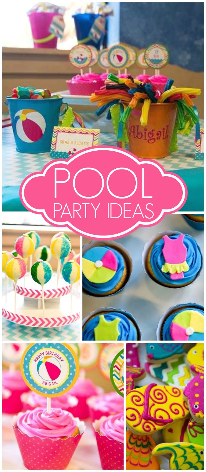 Love this bright and cheery hot pink and turquoise pool party! See more party ideas at CatchMyParty.com!