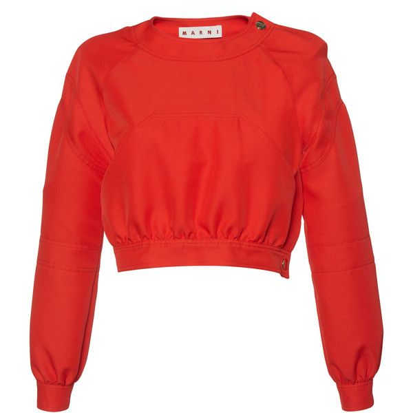 Marni     Cropped Long Sleeve Top ($1,150) ❤ liked on Polyvore featuring tops, marni, red, red long sleeve top, red top, cut-out crop tops, long sleeve tops and crop top