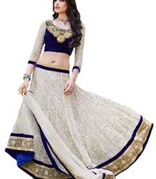 Buy White georgette embroidered  unstitched lehenga choli ghagra-choli online