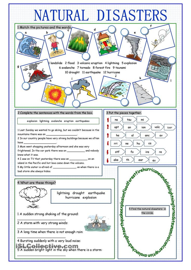 Natural Disasters Vocabulary Exercises