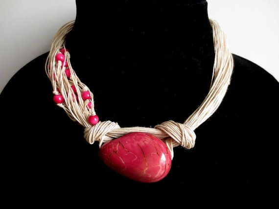 Dark Pink Tagua Nut Beads Organic Linen Necklace by ArteTeer, $20.00