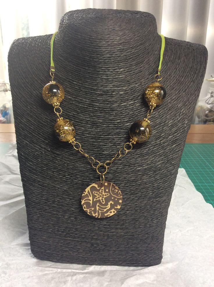 Necklace green sea, vintaj, utee, sizzix, ranger