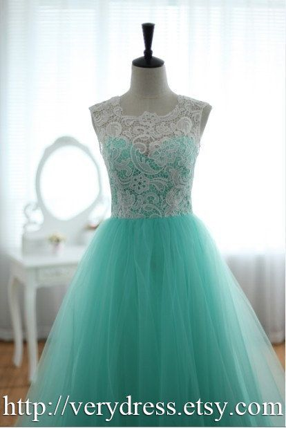 Custom Elegant White Lace High Neck Green Tulle by verydress, $129.00