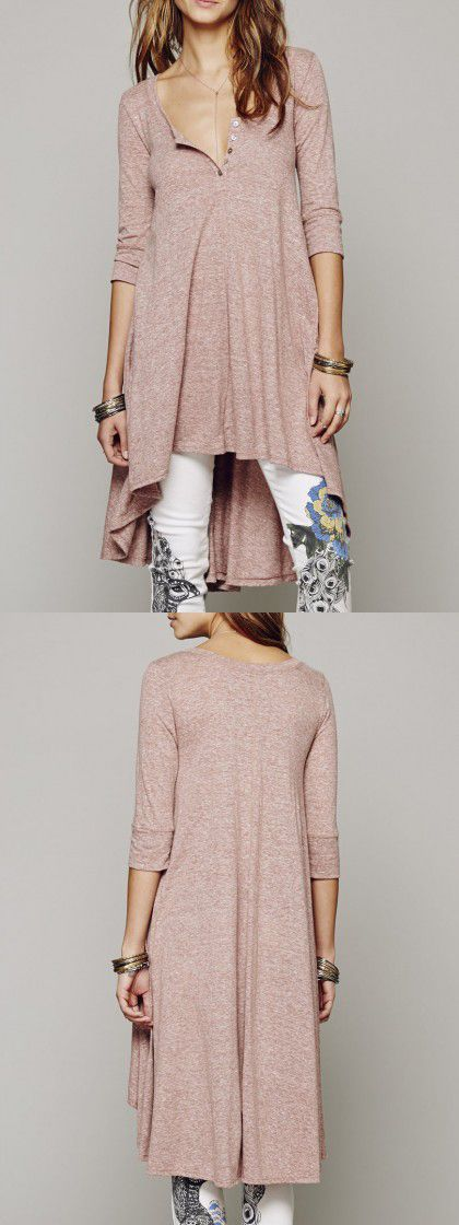 Pink 3/4 Sleeve High-low Button Detail Dress-top