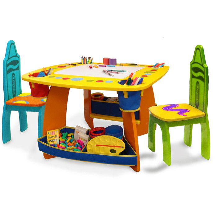 Grow 'n Up Crayola Wooden Kids 3 Piece Table and Chair Set & Reviews | Wayfair