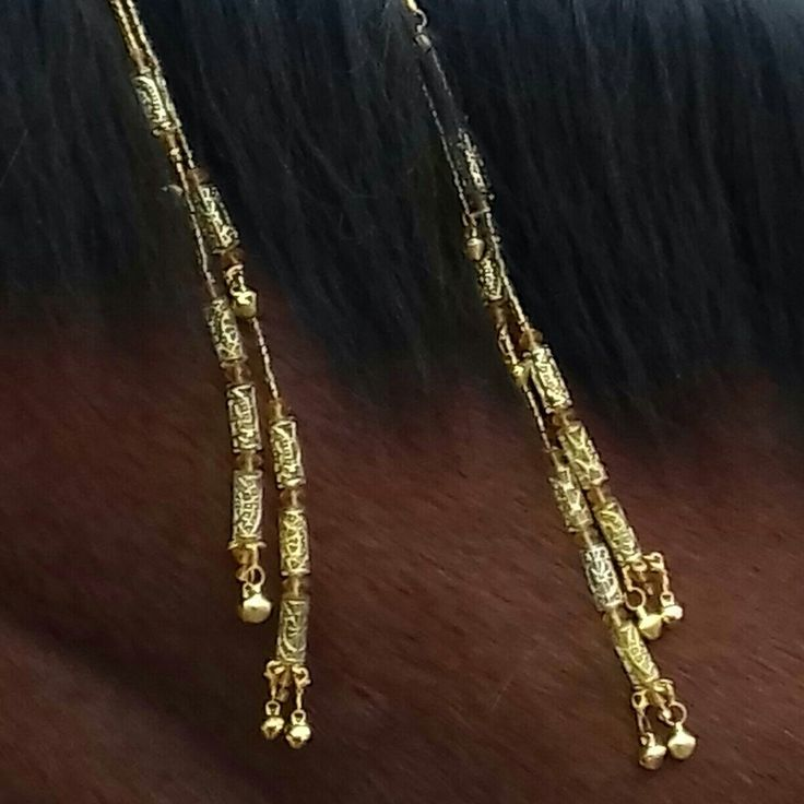 Golden ornaments mane for horse