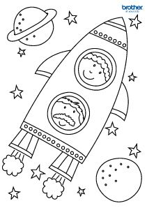 printable rocket coloring page for kids - Colouring In Kids