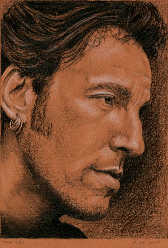 """Finished the commissioned drawing of Bruce Springsteen. """"The Boss"""" Charcoal and White Chalk on colored paper, 15 x 21 cm. www.realistischekunst.com"""