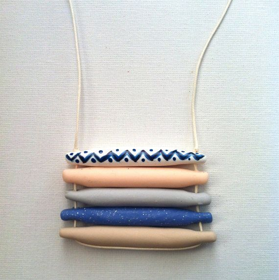 Handmade stacked polymer clay beaded handpainted by SiennaandKip, $10.00