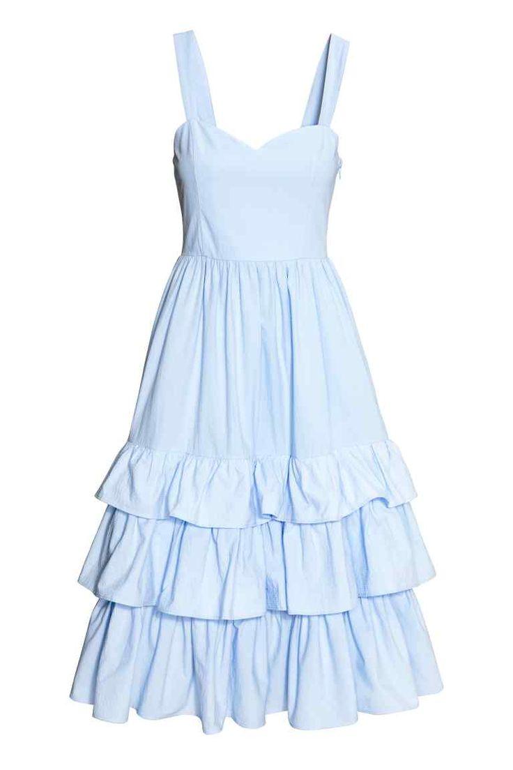 H&M NL Jurk van katoenen popeline - Lichtblauw  dress light pastel blue ruches cotton