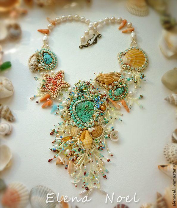 "Купить Колье ""Музыка Океана"" речной жемчуг, морские раковины, кораллы - море, морская тема"