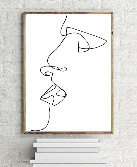 Kiss Print, Line Art, B and W, Printable Art, Minimalist Print, Digital Download, One Line, drawing, – Michel Thiry