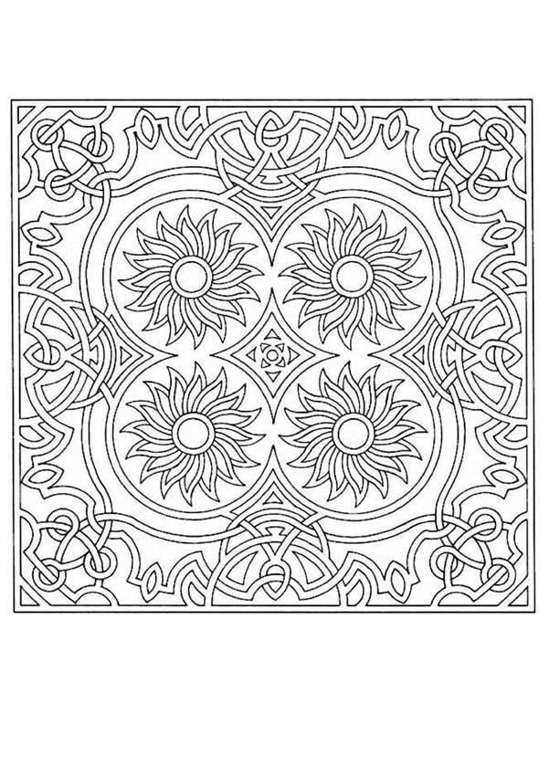 difficult level mandala coloring pages - Fractal Coloring Book