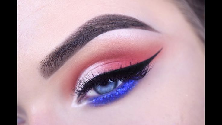 FOURTH OF JULY | Half Cut Crease Eye Makeup Tutorial - YouTube