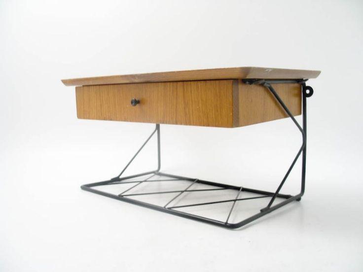 TELEFONHYLLA, med låda, string, 1950-tal, längd: 40, djup: 24, höjd: 20 - sängbord