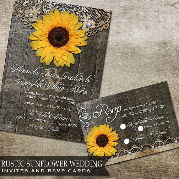 Sunflower Wedding Invitation Set Rustic Wedding by OddLotPaperie