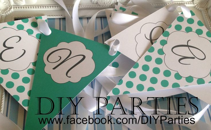 Table bunting - Polka Dot - Aqua & White.  Find us on Facebook:  www.facebook.com/DIYParties