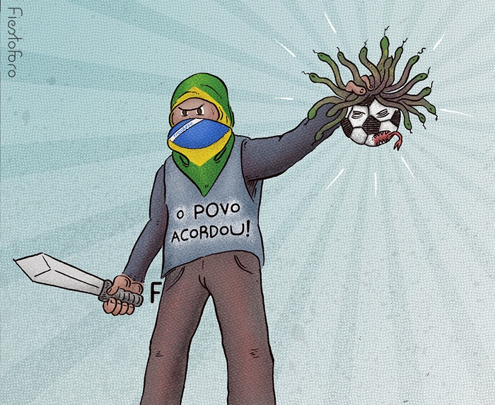 Imagen: Un joven sostiene en su mano una pelota con cabellera de víboras (como si fuese Perseo sosteniendo la cabeza de medusa, después de derrotarla). En su vestimenta se lee el mensaje: «O povo acordou. El pueblo despertó.».