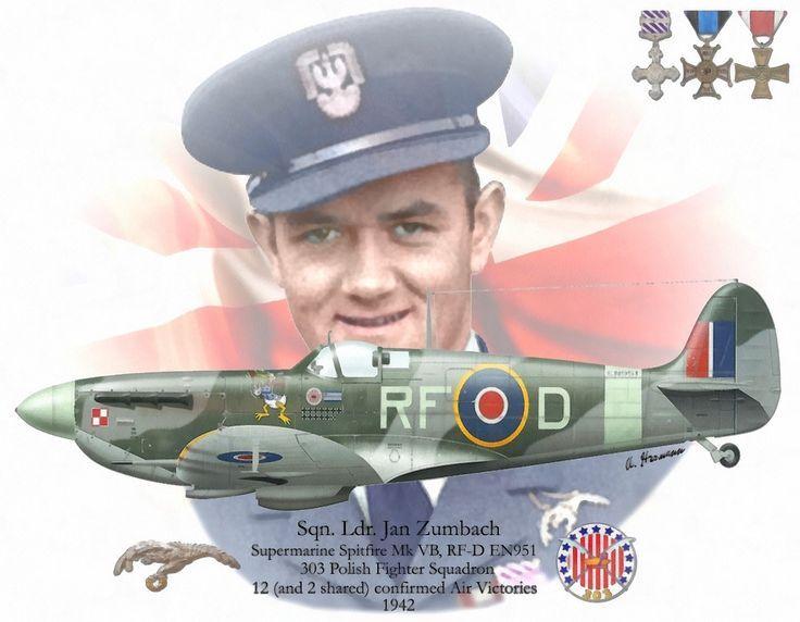Znalezione obrazy dla zapytania Spitfire Mk.Vb, EN951, RF, 303. Kościuszkowski Sqn. RAF, pilot S/Ldr Jan Zumbach