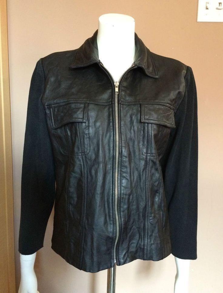 Leather Jacket / Sweater Woman Size M Black Nygard Half Leather Half Jacket