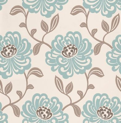 Fiori Mineral (W0012/04) - Clarke & Clarke Wallpapers - A beautiful large floral trail in a stylized effect. Showing in duck egg blue and taupe on off white with metallic highlights. Other colour ways available. Please request a sample for true colour match. Paste-the-wall product.
