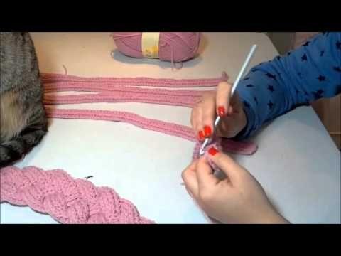 como hacer un cuello de trenzas a ganchillo - YouTube