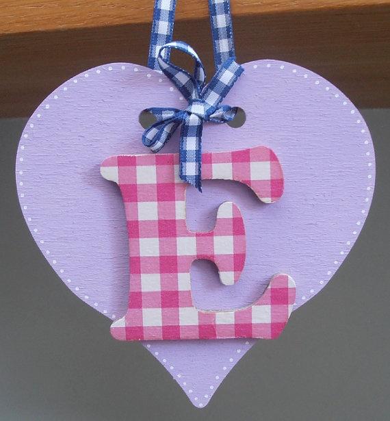Personalized decoupage letter wooden heart