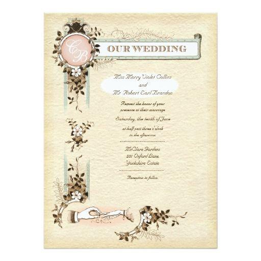 Vintage Hands Wedding Invitation 5.5 X 7.5
