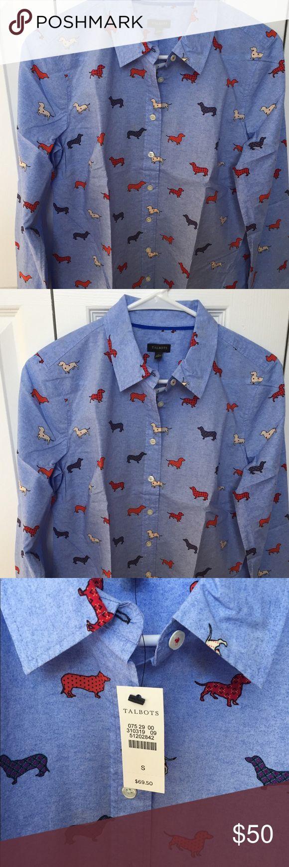 Button Down Dachshund Shirt NWT adorable Dachshund print shirt from Talbots. Talbots Tops Button Down Shirts