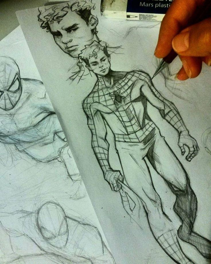 regram @leilaleiz That's how i see peter Parker ...So curly  #spiderman #marvelcomics #marvel #comics #peterparker #sketch #doodle #artistofinstagram #pencil #practice #art #artwork