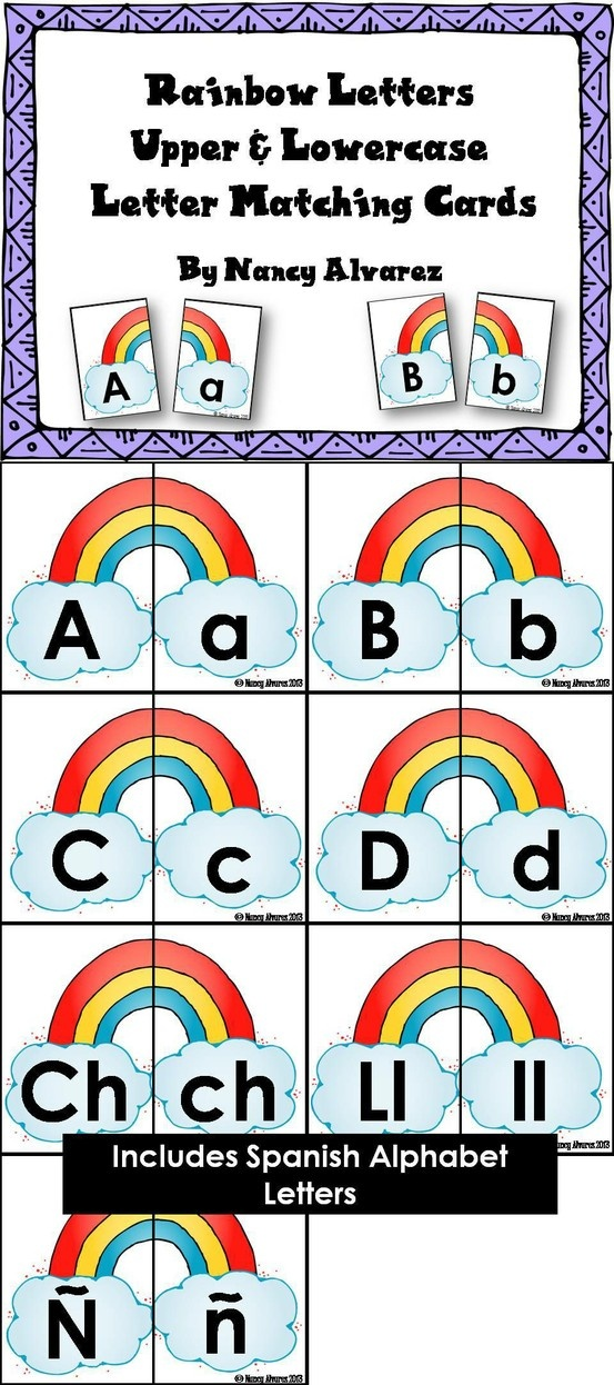 FREEBIE Use these rainbow upper and lowercase letter matching cards to give your students practice matching upper/lowercase letters and letter discrimination.