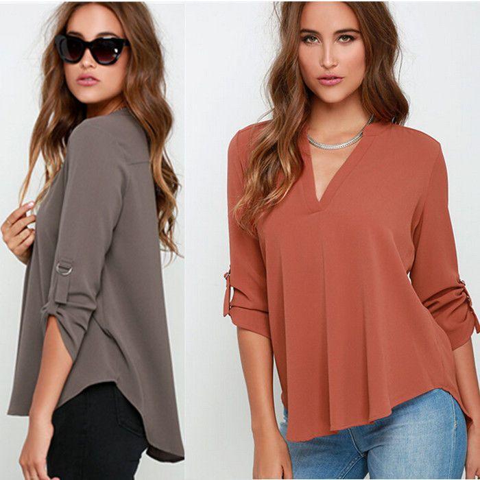 De Moda Para Dama Chifón Manga Larga Holgado Tops Blusa Verano Camisa Casual