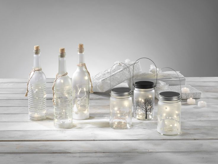 Jars and bottles with lighting for Christmas - #Mascagni #mascagnicasa