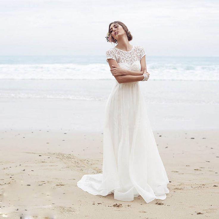 Короткие Рукава Длинные Кружева Свадебные Платья Бич Простой Boho Свадебное Платье LHS2253 купить на AliExpress