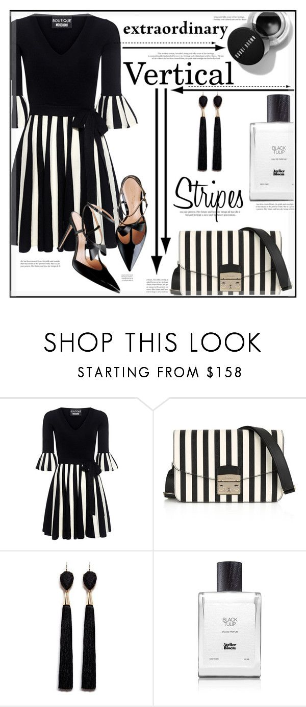 """""""Vertical Stripes"""" by suzanne228 ❤ liked on Polyvore featuring Boutique Moschino, Furla, Mignonne Gavigan and Atelier Bloem"""
