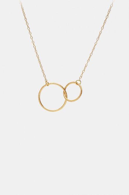 Double Plain Loop Gold Necklace