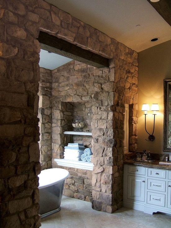 Die besten 25+ Natural mediterranean bathrooms Ideen auf Pinterest - badezimmer steinwand