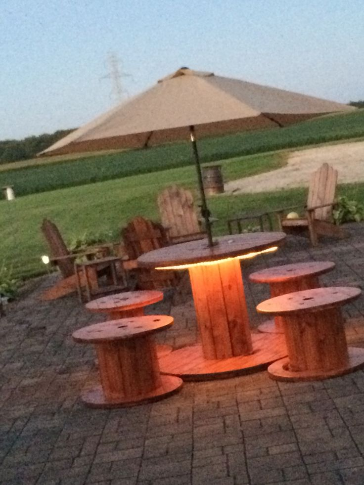 utility spools we used to create a patio set. We live in the country and everything blows away! Not now!