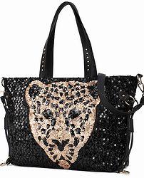 Sequined Leopard Shoulder Bag