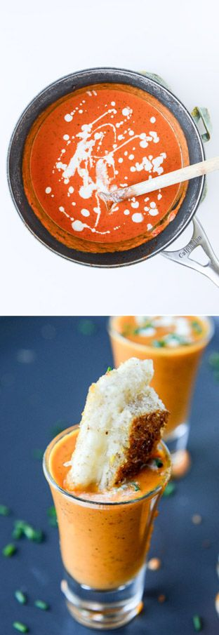 the best, easiest creamy tomato soup with grilled cheese shooters. love this meal on halloween! I howsweeteats.com