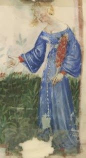 1390-1400, Nouvelle acquisition latine 1673, fol. 3v: Harvest of peaches Nouvelle acquisition latine 1673, fol. 9, Harvest of sweet cherries Many buttons, wide neckline: in this case we can see wide sleeves and a red dress under them.>>Buttons all the way down front?