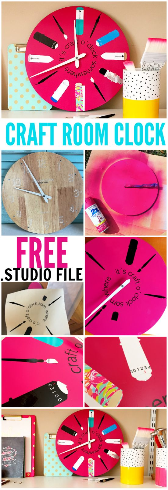 Silhouette Inspired Craft Room Clock with Mixed Media (And Free Silhouette Design File)